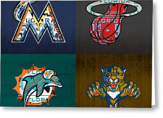 Miami Sports Fan Recycled Vintage Florida License Plate Art Marlins Heat Dolphins Panthers Greeting Card by Design Turnpike
