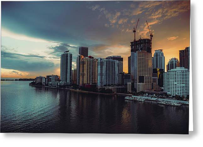 Miami Sunset Greeting Card