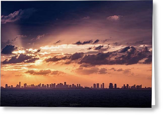 Miami Sunset Pano Greeting Card