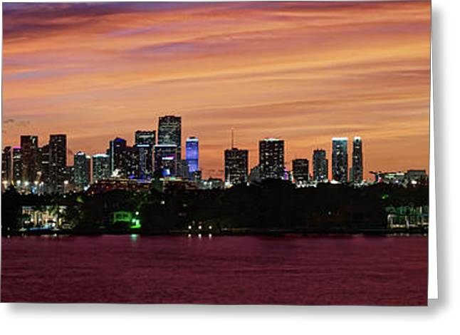 Miami Sunset Panorama Greeting Card