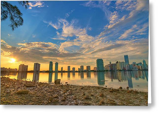 Miami Sunset Greeting Card by William Wetmore