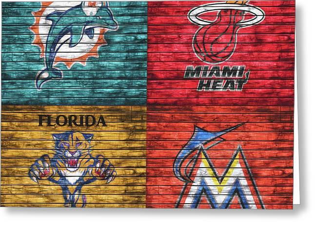 Miami Teams Graphic Barn Door Greeting Card