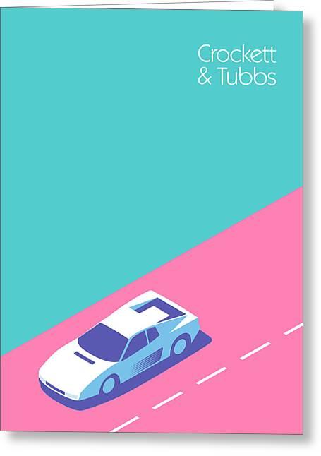 Miami Vice Crockett Tubbs - Aqua Greeting Card