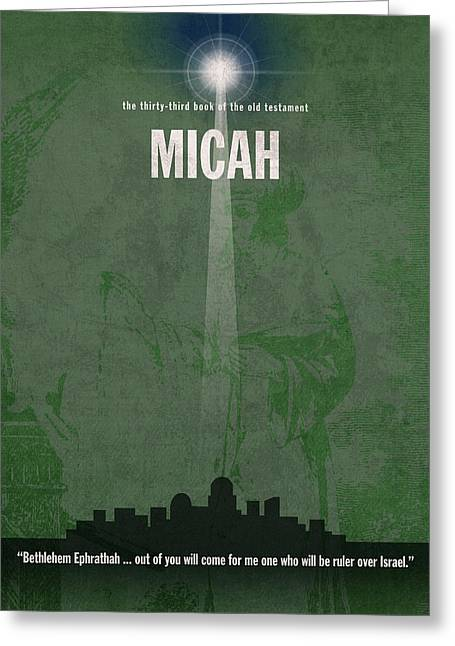 Micah Books Of The Bible Series Old Testament Minimal Poster Art Number 33 Greeting Card by Design Turnpike