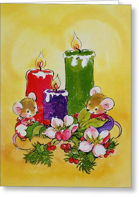 Mice With Candles Greeting Card by Diane Matthes