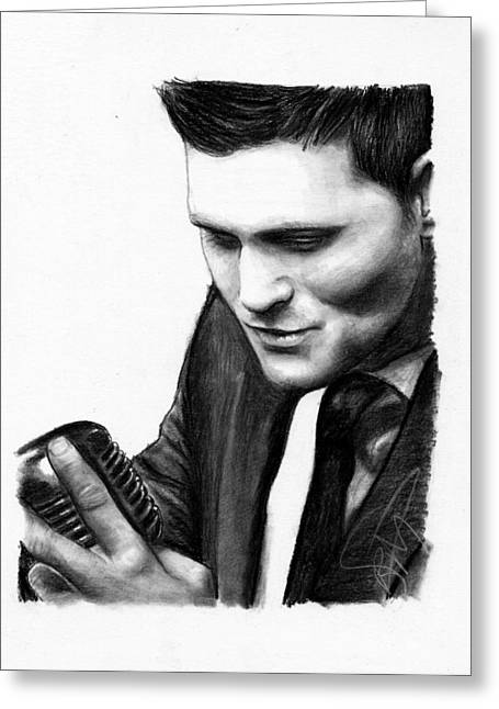 Charcoal Portrait Greeting Cards - Michael Buble Greeting Card by Rosalinda Markle