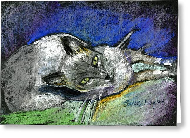 Feline Pastels Greeting Cards - Michael Campbell Greeting Card by Arline Wagner