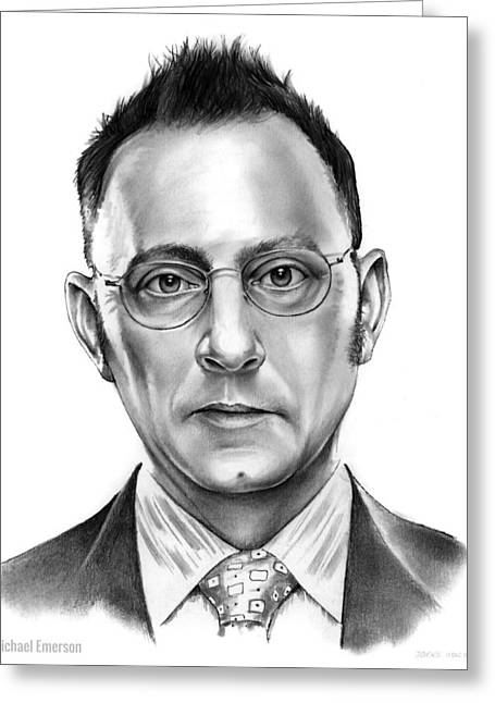 Michael Emerson Greeting Card by Greg Joens