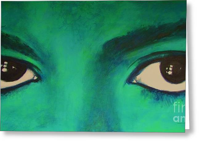 Greeting Card featuring the painting Michael Jackson - Eyes by Eric Dee