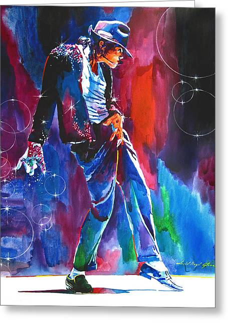 Featured Portraits Greeting Cards - Michael Jackson Action Greeting Card by David Lloyd Glover
