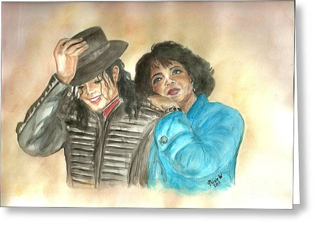 Michael Jackson And Oprah Greeting Card by Nicole Wang
