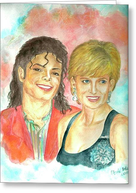 Michael Jackson And Princess Diana Greeting Card by Nicole Wang