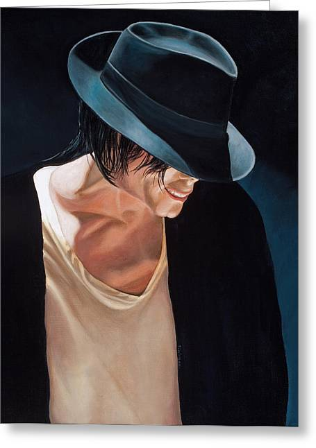 Michael Jackson  Black Hat Greeting Card by Douglas Fincham