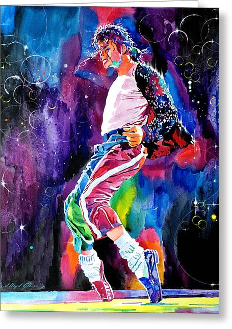 Featured Portraits Greeting Cards - Michael Jackson Dance Greeting Card by David Lloyd Glover