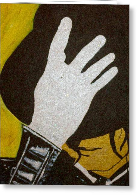 Glitter Glove Greeting Cards - Michael Jackson Greeting Card by Estelle BRETON-MAYA