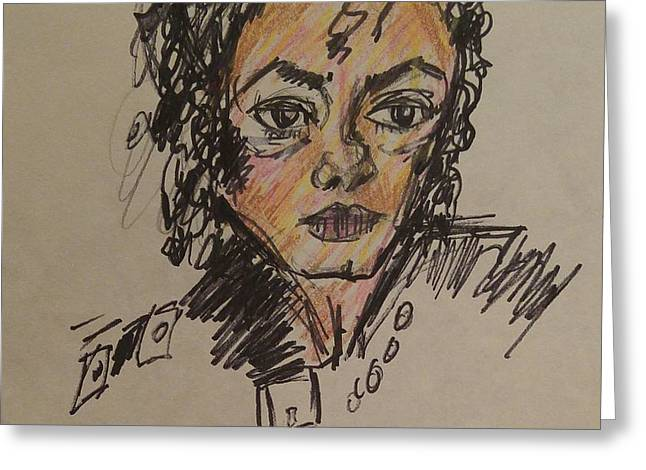 Michael Jackson Greeting Card by Geraldine Myszenski