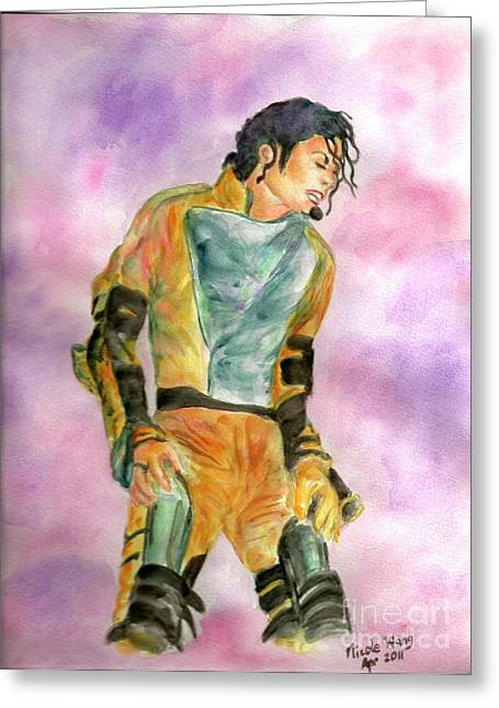 Mj Paintings Greeting Cards - Michael Jackson HIStory Tour Greeting Card by Nicole Wang
