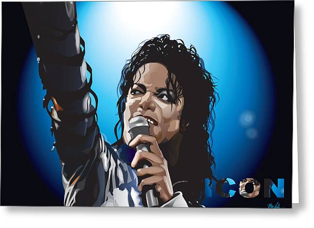 Beat It Greeting Cards - Michael Jackson Icon Greeting Card by Mike  Haslam