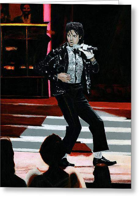 Thriller Paintings Greeting Cards - Michael Jackson Motown 25 Greeting Card by David Rives