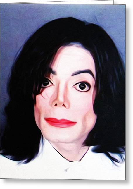Michael Jackson Mugshot Greeting Card by Bill Cannon
