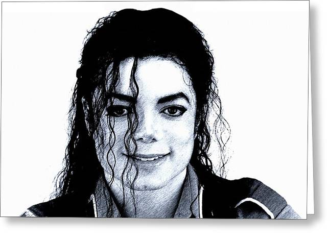 Greeting Card featuring the drawing Michael Jackson Pencil Drawing  by Movie Poster Prints