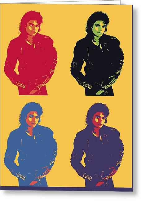 Michael Jackson Pop Art Panels Greeting Card by Dan Sproul