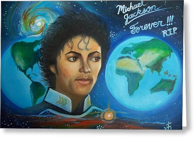 Michael Jackson Portrait. Greeting Card by Jose Velasquez