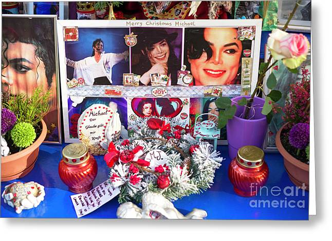 Michael Jackson Shrine Greeting Card by John Rizzuto