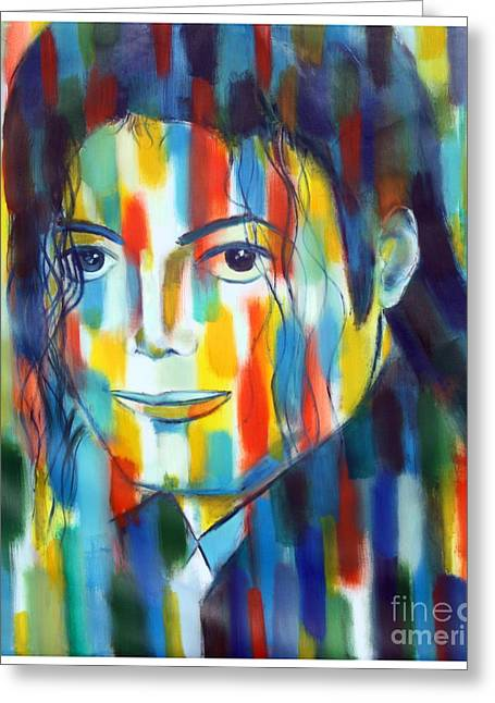 Michael Jackson  The Man In Color Greeting Card by Habib Ayat