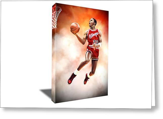 Michael Jordan Air Highness Canvas Art Greeting Card by Artwrench Dotcom