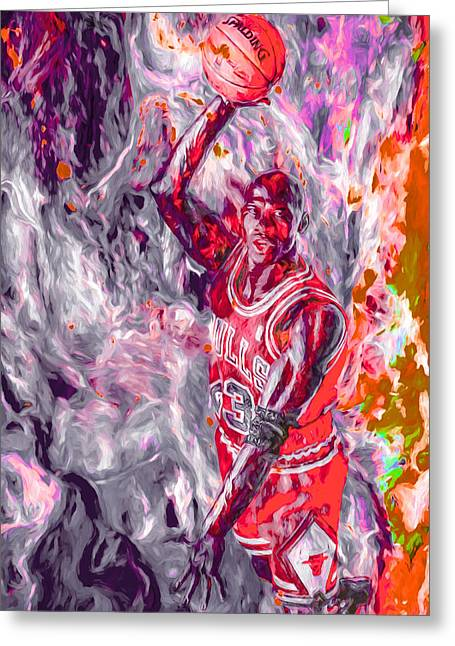 Michael Jordan Chicago Bulls Digital Painting Greeting Card by David Haskett
