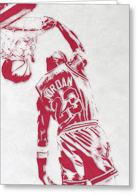 Michael Jordan Chicago Bulls Pixel Art 1 Greeting Card by Joe Hamilton