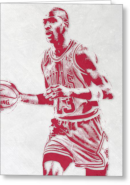 Michael Jordan Chicago Bulls Pixel Art 2 Greeting Card by Joe Hamilton