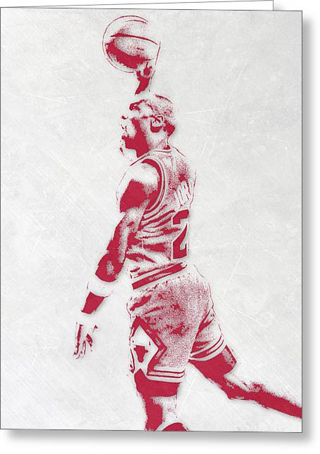 Michael Jordan Chicago Bulls Pixel Art 3 Greeting Card by Joe Hamilton
