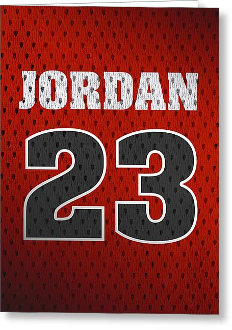 Michael Jordan Chicago Bulls Retro Vintage Jersey Closeup Graphic Design Greeting Card by Design Turnpike