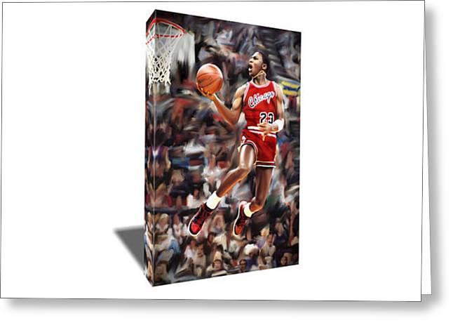 Michael Jordan Dunk Contest Canvas Art Greeting Card by Artwrench Dotcom