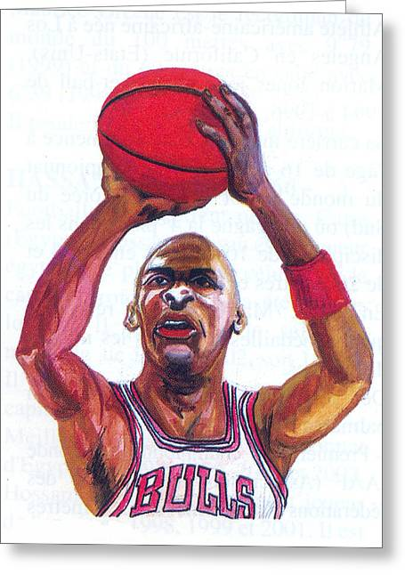Greeting Card featuring the painting Michael Jordan by Emmanuel Baliyanga