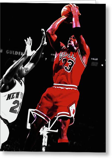 Michael Jordan Fade Away 1a Greeting Card by Brian Reaves