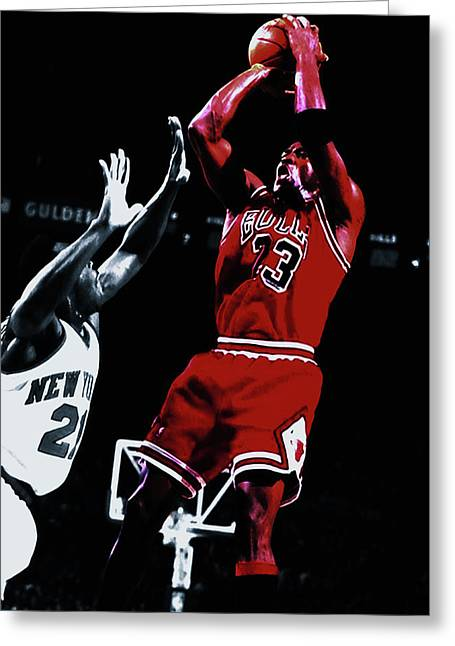 Michael Jordan Fade Away Greeting Card by Brian Reaves