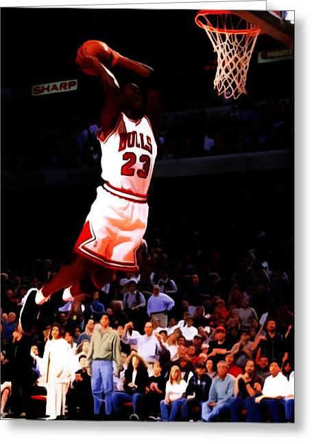 Michael Jordan In Flight 7c Greeting Card
