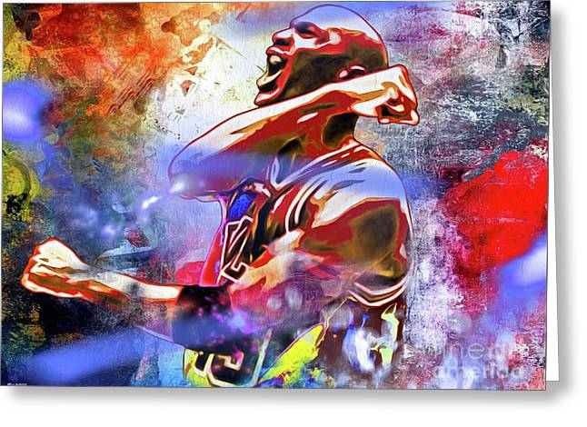 Michael Jordan Painted Greeting Card by Daniel Janda
