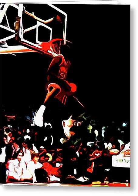Michael Jordan Reverse Slam Dunk 2 Greeting Card by Brian Reaves