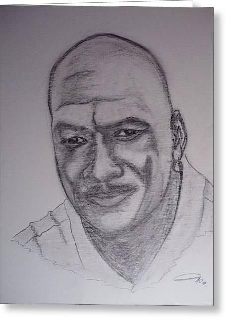 Michael Jordan Drawings Greeting Cards - Michael Jordan Greeting Card by Roberto Rivera