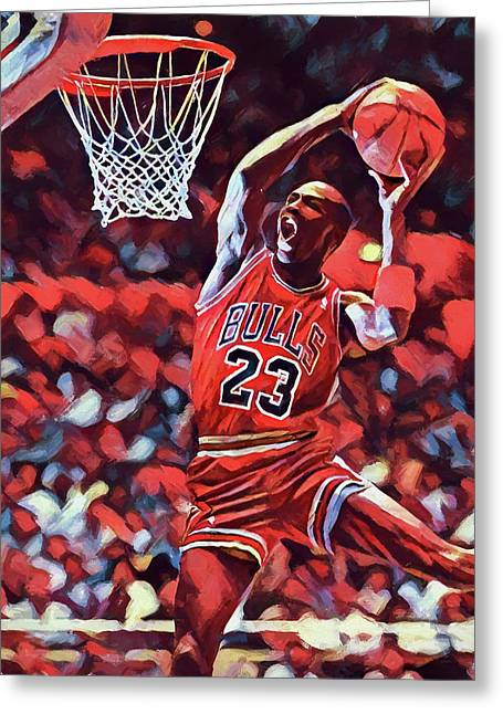 Michael Jordan Slam Dunk Greeting Card by Dan Sproul