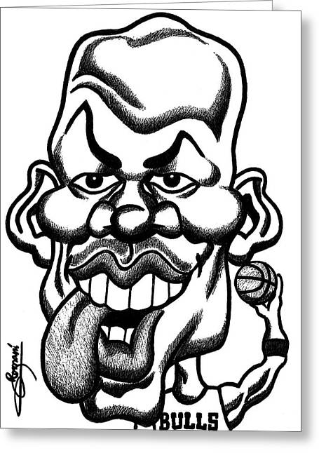Michael Jordan Tongue Out Caricature  Greeting Card by Miguel Romani