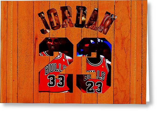 Michael Jordan Wood Art 1b Greeting Card by Brian Reaves