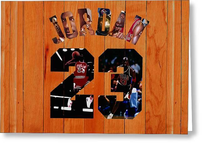 Michael Jordan Wood Art 1g Greeting Card by Brian Reaves