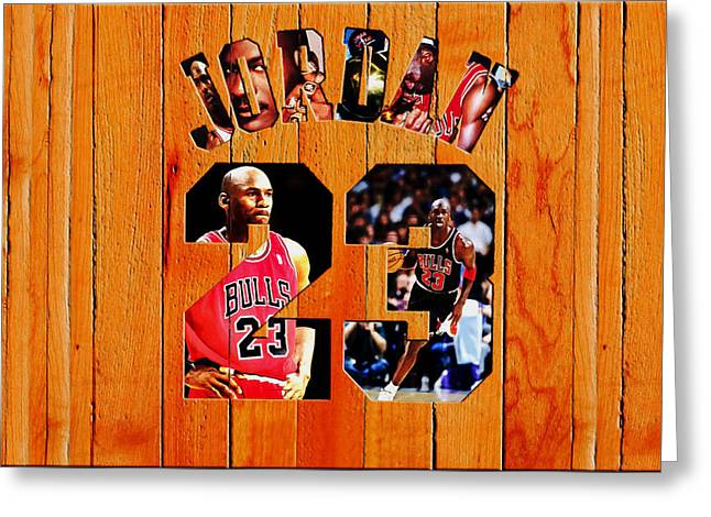 Michael Jordan Wood Art 1h Greeting Card by Brian Reaves