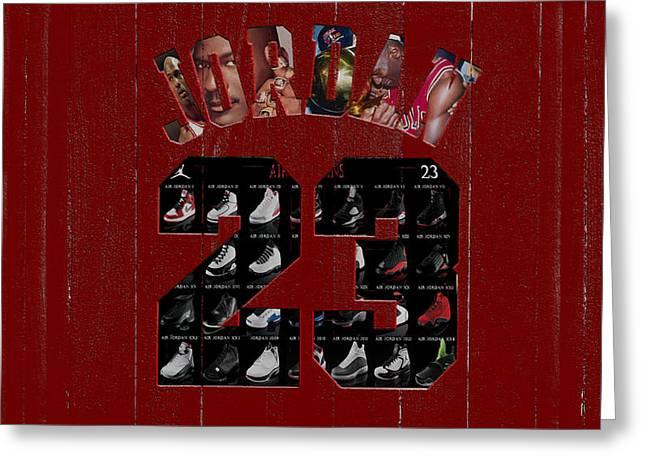 Michael Jordan Wood Art 1j Greeting Card by Brian Reaves