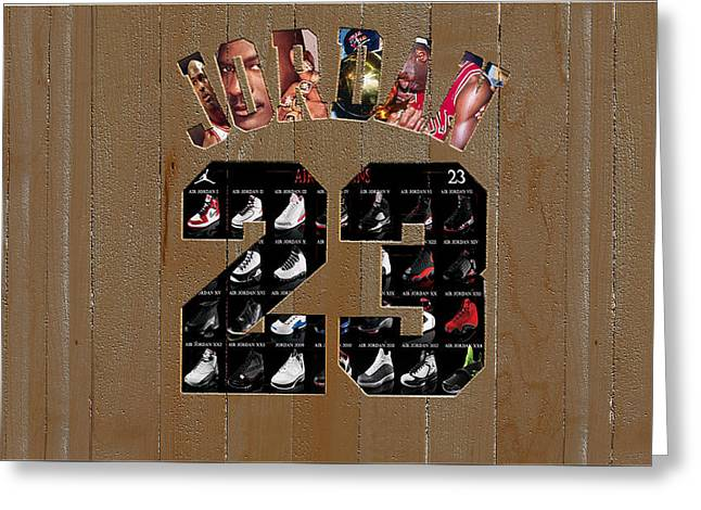 Michael Jordan Wood Art 2m Greeting Card by Brian Reaves